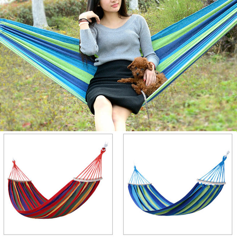 Portable Outdoor Hammock Garden Sports Home Travel Camping Swing Canvas Stripe Hang Bed Hammocks J2Y portable outdoor hammocks sports home travel hang bed double person leisure travel parachute garden camping hammock