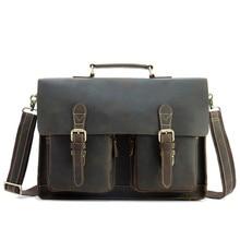 Men's Crossbody Laptop Bag Genuine Leather Business Briefcase Crazy Horse 15.6 Inches Handle Handbag Male Messenger Shoulder Bag