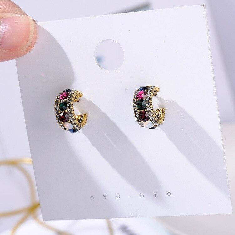 MENGJIQIAO, новинка,, винтажные цветные стразы, маленькие серьги-кольца для женщин, модные, имитация жемчуга, полукруг, Pendientes - Окраска металла: 3 line mix crystal