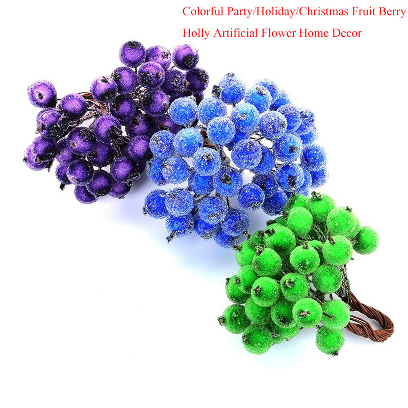 40 Pcs Decorative Party Holiday Christmas Frosted Fruit Berry Holly Artificial Flower DIY Home font b