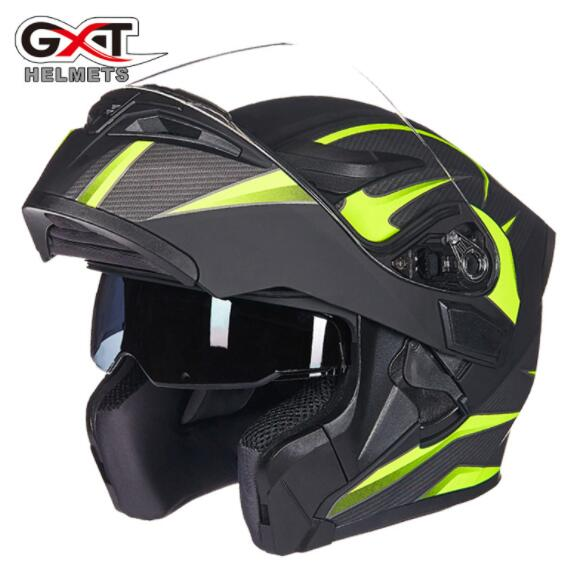 GXT Capacete Da Motocicleta Flip Up Capacetes de Motocross Homens Rosto Cheio Capacetes de Moto Motocicleta Lente Capacete Casco Moto Com Doublel
