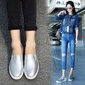 Eofk resorte de alta calidad de las mujeres de cuero de moda los zapatos planos ocasionales mujer mocasines resbalón en los zapatos femeninos de plata slipony