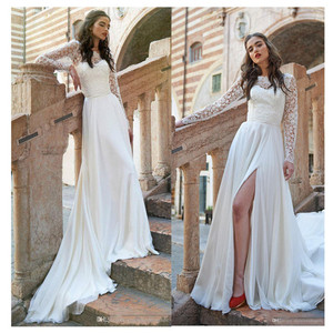 Image 1 - Completa de la manga larga encaje vestidos para boda de chifón playa vestido vestidos de boda abertura larga vestidos de novia 2020 hecho personalizado