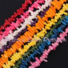 Free Shipping 3-6×5-10mm Natural Stick Freeform Shape Coral Gem Stone For DIY Necklace Bracelet Jewelry Making Spacer Beads 15″
