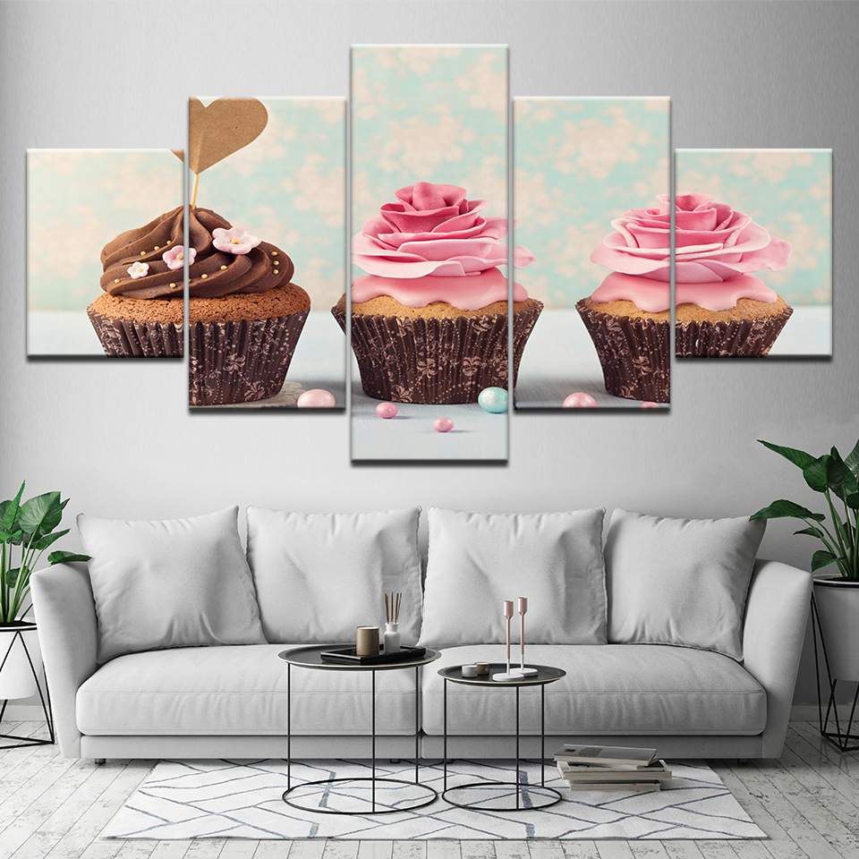 Kitchen Wall Painting Designs: Colorful Delicious Ice Cream Cakes Canvas Painting Posters
