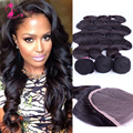 Top 7A Grade Brazilian Virgin Hair With Closure Cheap Brazilian Human Hair Weave 3 Bundles Brazilian Body Wave With Lace Closure