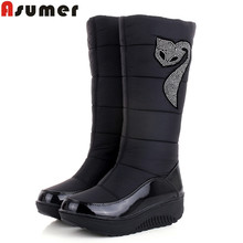 ASUMER 2016 winter Russia keep warm snow boots Cotton shoes fashion platform down winter boots mid calf half knee high boots