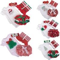 Christmas Festival Baby Infant Clothing Sets Santa Clause Fir Romper PP Pants Stockings Headband 4pcs Sets