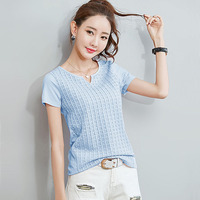 Plaid T Shirt Women T Shirts Summer Top Solid Tshirt Cotton T Shirt Women Tops Poleras