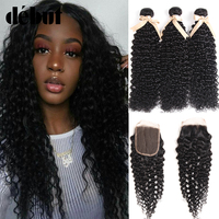 Debut Peruvian Curly Hair Weave 3 Bundles with Closure Wet And Wavy Brazilian Human Hair Afro Kinky Curly Bundles with Closure