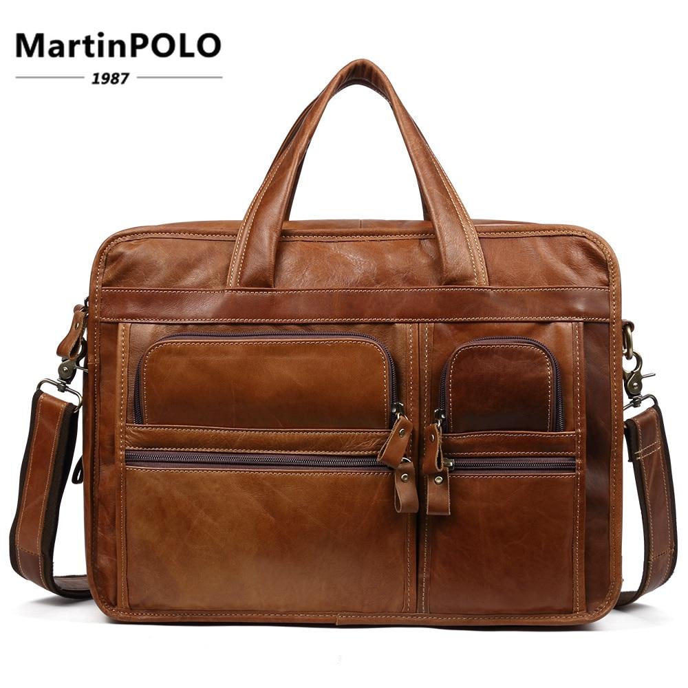 High Quality Men Briefcase Cow Leather Casual Leather Laptop Bag Men Cross Body Bag Laptop Handbags Business Messenger Bags 9913