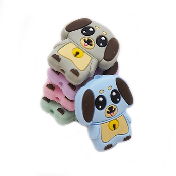 Chenkai 5PCS Silicone Dog Teether Beads Soothing Animal Bead BPA Free For Baby Chewable Nursing Pacifier Teething Toy Accessory