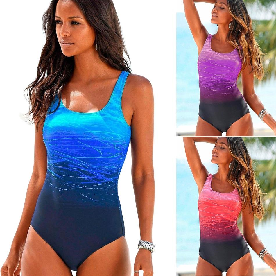 2020 Donne Sexy di Un Pezzo Costumi Da Bagno Della Spiaggia di Stampa Donna Bikini Costume Da Bagno Costume Da Bagno del Vestito di bagno Push Up Croce Torna Monokini Vestiti di Estate
