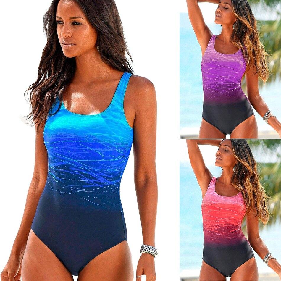 Biquíni feminino sensual e estampado de uma peça, praia, maiô, roupa de banho push up com costas cruzadas, roupas monokini, verão, 2020