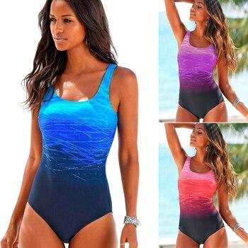 2020 traje de baño Sexy de una pieza para mujer, bañador de playa estampado para mujer, traje de baño, bañador Push Up con espalda cruzada, Monokini, ropa de verano