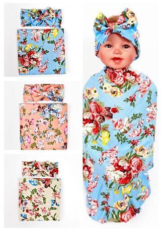 Новинка 2017 дети ѕеленальное Ндеяло и бантом повязка на голову с цветочным узором комплект бутон цветка одеяло для девочек реквизит пелЄнки из муслина с запахом
