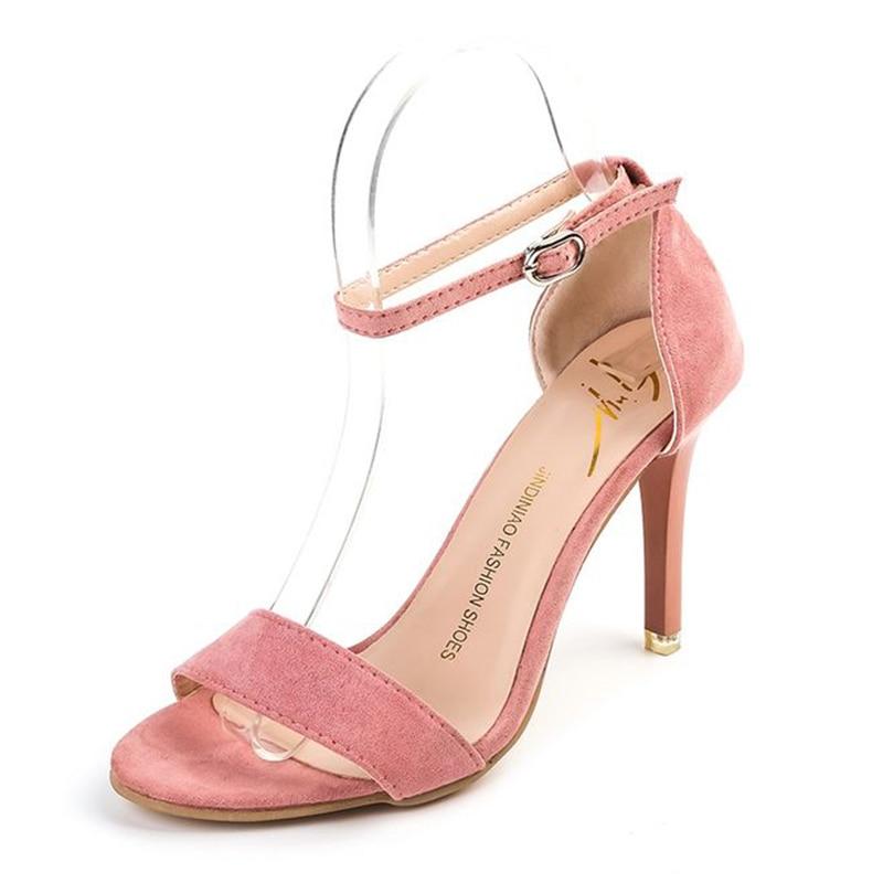 sexy banquet High-heeled Fine heel Buckle Grind Suede Packs and heels Toes Pink  Comfortable Women sandals