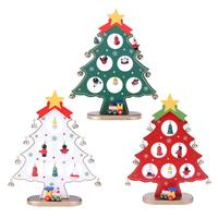 Wood Christmas Desk Craft Decor 21cm Christmas Tree Ornaments Display DIY Festival Gifts Party Supplies
