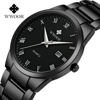 2018 WWOOR Top Brand Luxury Men Stainless Steel Waterproof Sports Watches Men's Quartz Analog Clock Male Black Strap Wrist Watch