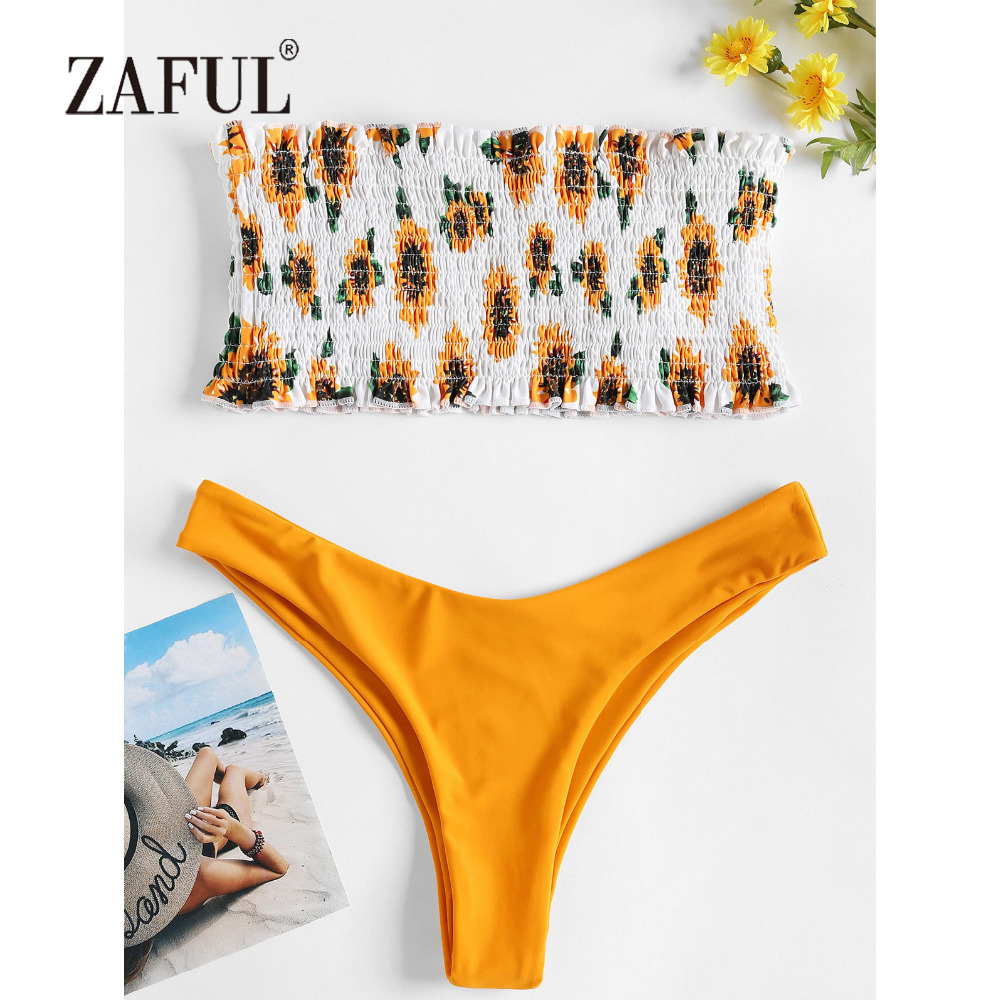 ZAFUL Smocked Bikini Bandeau Sunflower Swimwear Women Swimsuit Shirred Sexy Low Waist Strapless Floral Bathing Suit Beach Biquni fringe strapless bandeau bikini set