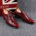 6 cm thick high heels men genuine leather shoes wedding nightclub dresses crocodile skin pattern oxfords shoe lace printed lace