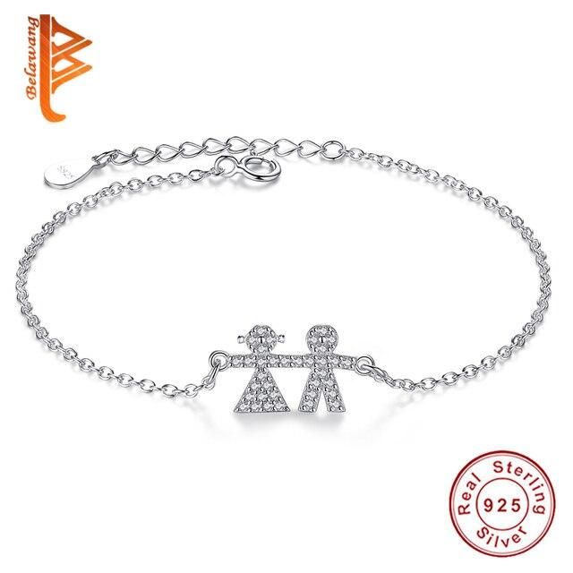 Wholesale 5PCS Trendy 925 Sterling Silver Bracelets Crystal  Person Adjustable Chain Link Bracelet Silver Jewelry For Women