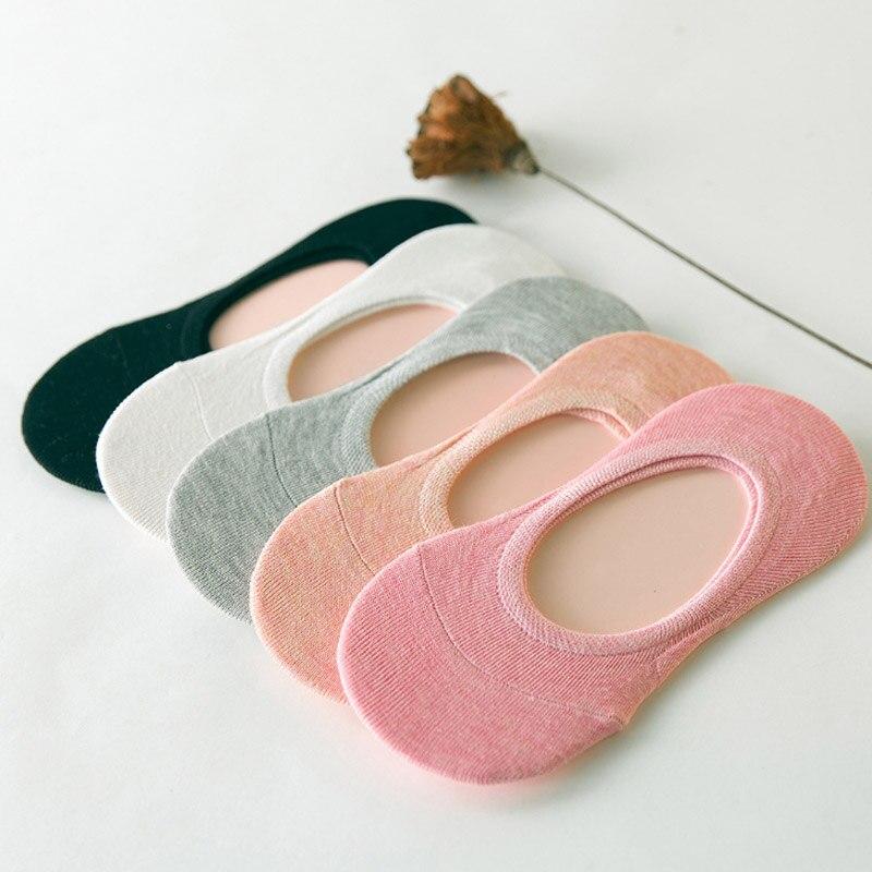 Cotton No Show Socks For Women Casual Solid Color Black White Grey Pink Orange Low Cut Socks Female Anti-slip Silicone Sock