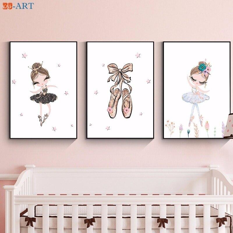 Hot Sale] Ballet Princess Nursery Nordic Poster Unicorn Wall