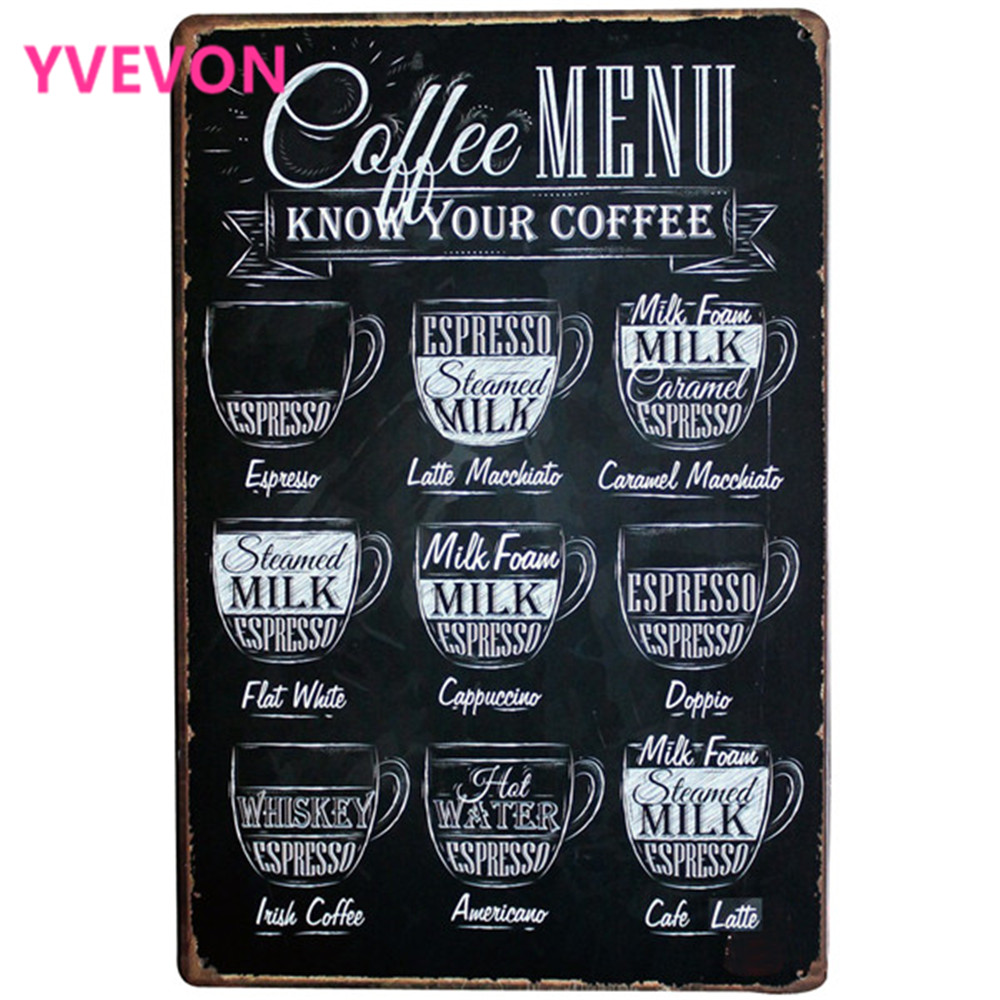 Coffee Menu Decor Neon Metal Tin Sign Vintage Drink Plaque European Style Rectangle Beve ...