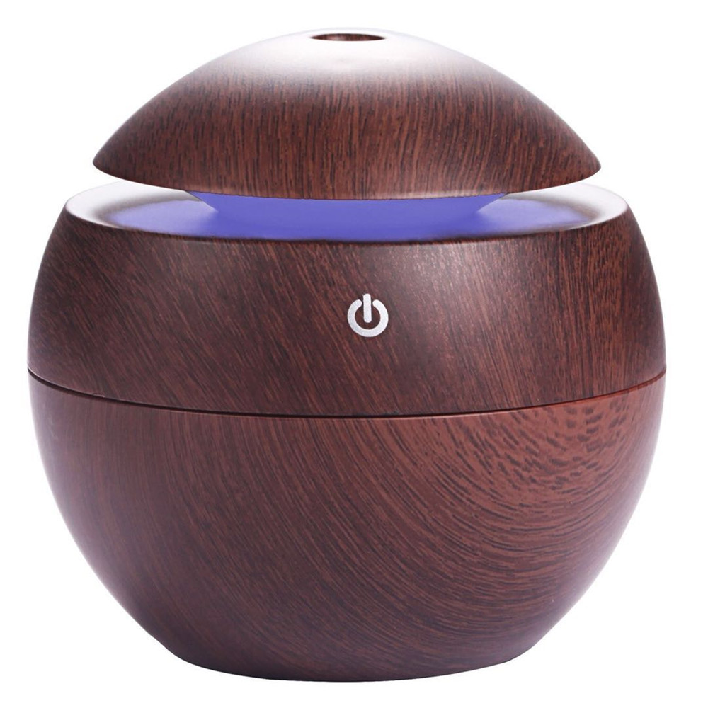 130Ml Air Humidifier Essential Oil Diffuser Wood Grain Aromatherapy Diffusers Aroma Purifier Mistmaker Led Light For Home