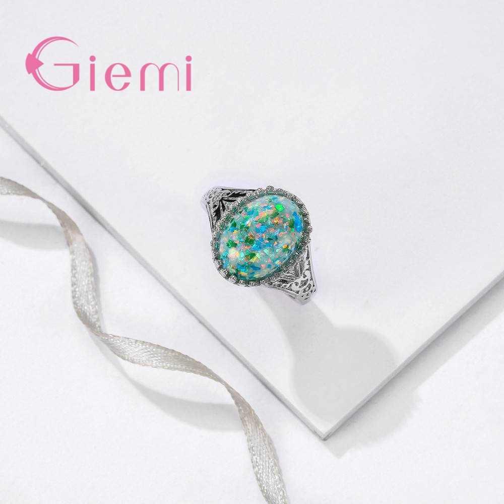 New Arrival AAA Big kolor opal 925 Sterling Silver wytłaczany wzór pierścień dla kobiet kobieta Party biżuteria hurtowych