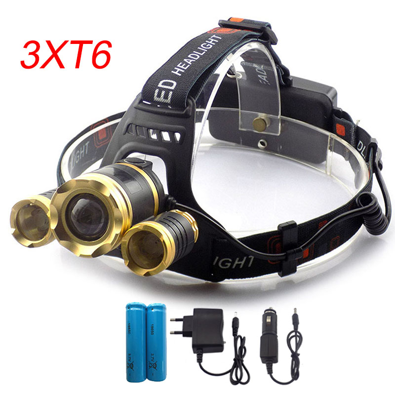 Super Bright T6 x3 LED Headlamp Zoomable Focus Frontale Head Lamp Flashlight Torch Headlight +Car AC Home charger +18650 battery r3 2led super bright mini headlamp headlight flashlight torch lamp 4 models