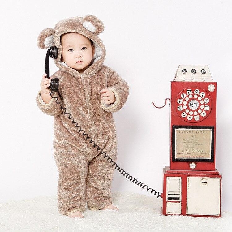 Зима 2017 флисовая детская одежда для скалолазания комбинезон для младенцев утепленная детская одежда с изображением медведя