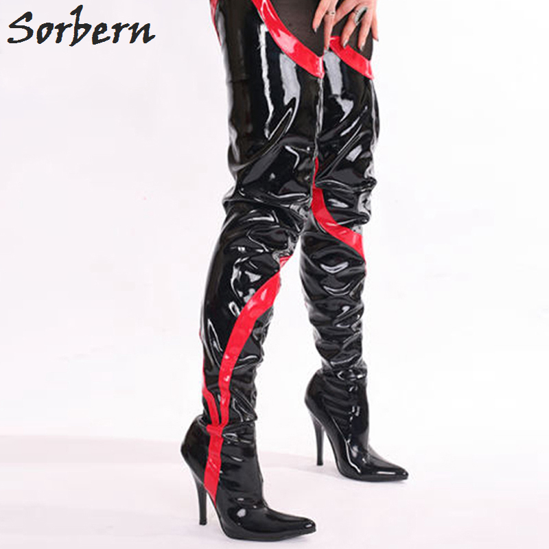 Sorbern Woman Boots 12CM High Heel Boots Patent Leather Pointed Toe Fashion Over The Knee Fetish Hhin high Long Boots For Woman new arrive woman black leather pointed stiletto heel knee high boots rivets beading high heel woman knee high boot long boots