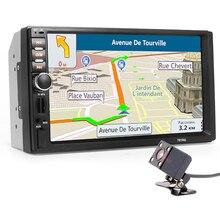 "2 Din Car Multimedia Player+GPS Navigation+Camera Map 7"" HD Touch Screen Bluetooth Autoradio MP3 MP5 Video Stereo Radio NO DVD"