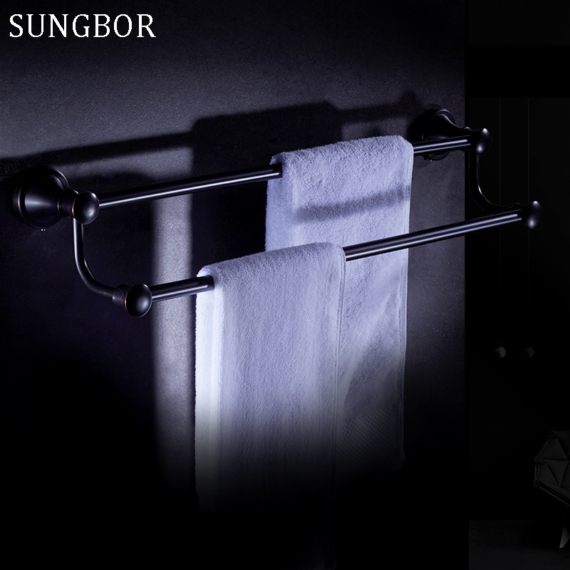 Free Shipping Wall Mounted Bathroom Accessories Oil Rubbed Bronze Black Double Towel Bar Towel Holder Bathroom Hardware YL-4711H free postage oil rubbed bronze tooth brush holder double ceramic cups holder