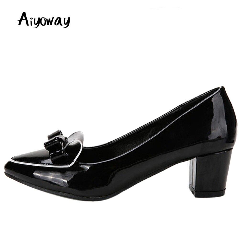 Aiyoway Femmes Chaussures Bout Rond Talons Moyen Bloc Talon Arc Pompes En Cuir Verni Automne Printemps Travail et Carrière Chaussures Slip -sur Rouge