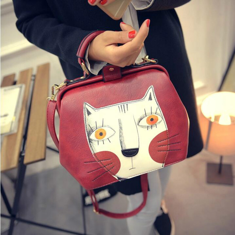 3 Pattern Available Special Cartoon Printing Women Handbags High Quality PU Leather Women 's Messenger Bags Cute Bags For Girls high quality women s handbags