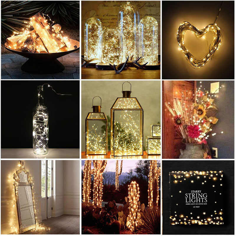 Peri Lampu 2M 5M 10M 33ft USB 3AA Baterai LED Kawat Tembaga String Lampu untuk Natal festival Pesta Pernikahan Dekorasi