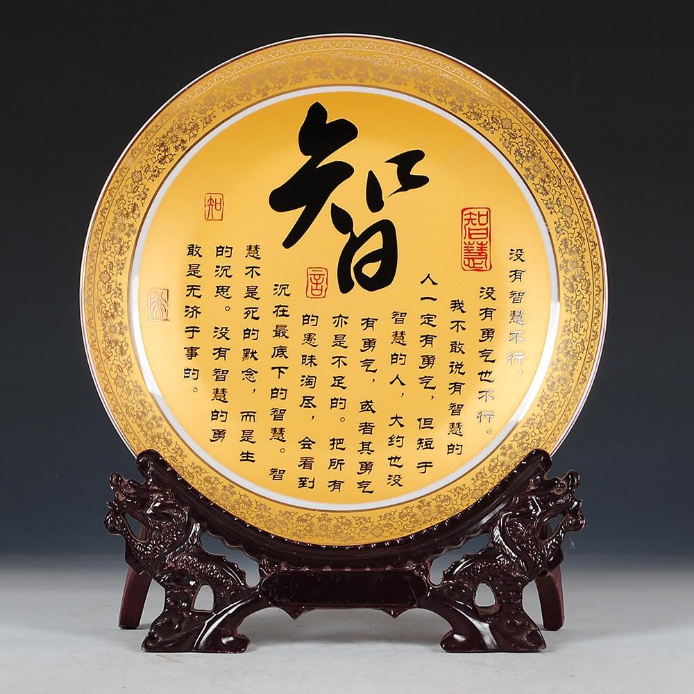Kata cina Keramik Piring Hias Dekorasi Piring Hidangan Menggantung - Dekorasi rumah - Foto 6