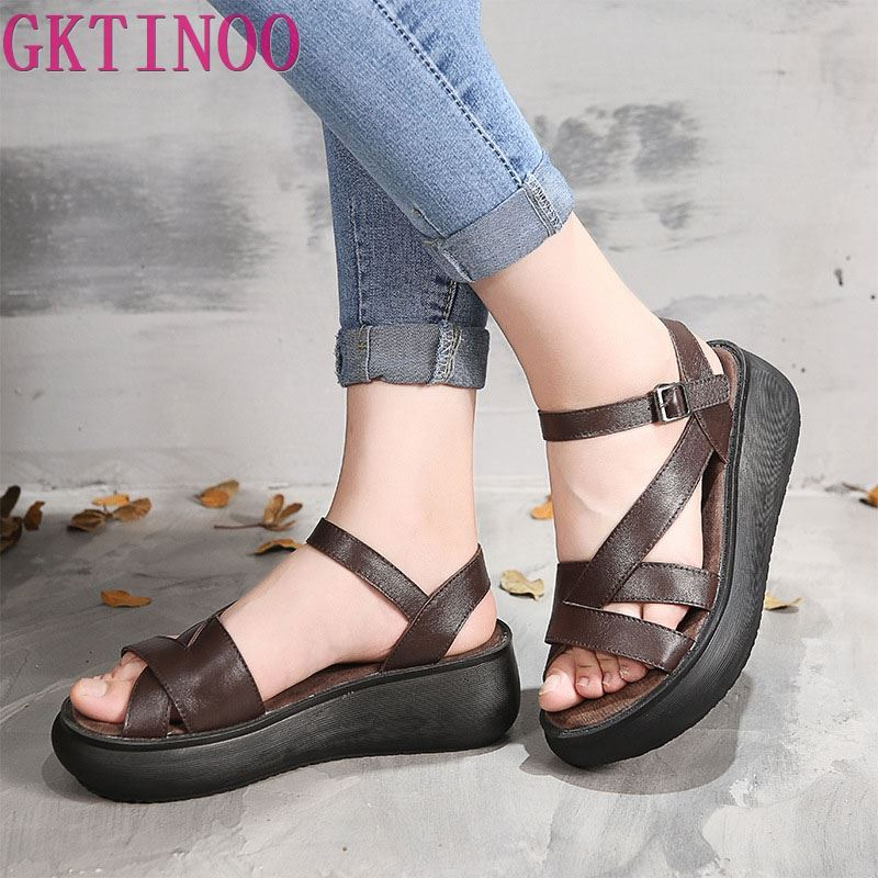 GKTINOO 2019 Womens Sandals Genuine Leather Open Toes Cut Out Wedges Handmade Vintage Summer Ladies Shoes Platform SandalsGKTINOO 2019 Womens Sandals Genuine Leather Open Toes Cut Out Wedges Handmade Vintage Summer Ladies Shoes Platform Sandals