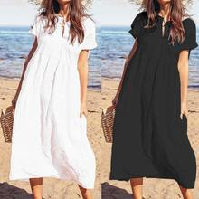 Plus Size Dress 2019 Summer Women Button Hollow Sexy Long Maxi Dress Celmia Casual Loose Solid Robe Beach Pleated Vestidos Mujer
