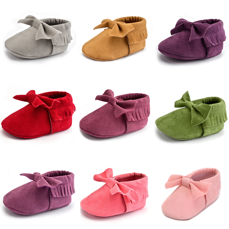 Stylish Infant Moccasin Baby Girls Boy Pre-walking Shoes Butterfly-knot Tassel Toddler Crib 11 Color Available Spring/Autumn