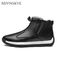 MIVNSKVE Autumn Winter Leather Men Snow Boots High Quality Mens Shoes Zapatos Hombre Causal Outdoor Design