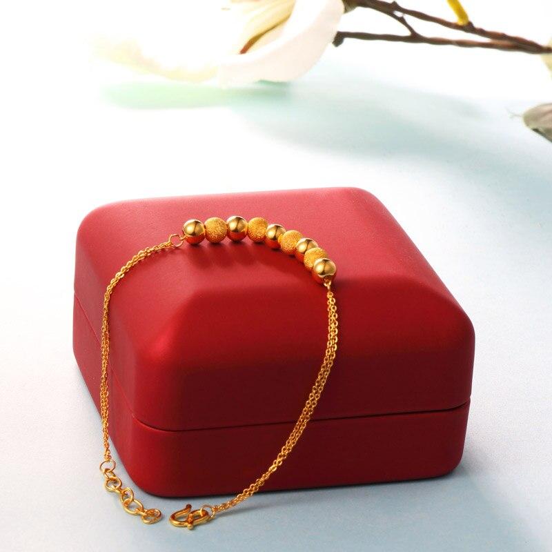XXX BBB สร้อยข้อมือทอง 24k สีเหลืองบริสุทธิ์ของแท้ AU999 กำไลข้อมือ Fine หมั้น fine Jewelry ลูกปัดใหม่ขายร้อน-ใน สร้อยข้อมือและกำไล จาก อัญมณีและเครื่องประดับ บน   3