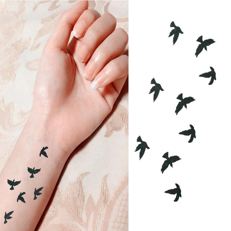 Us 046 20 Off2018 Fashion Pols Flash Tattoo Nep Tattoo Vogels Ontwerp Waterdichte Tijdelijke Tattoo Sticker Voor Body Art Vrouwen Flesh Tattoos In