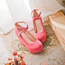 New lolita girls spring sweet princess candy color brief vintage preppy sweet wedges single women's student uniform shoes