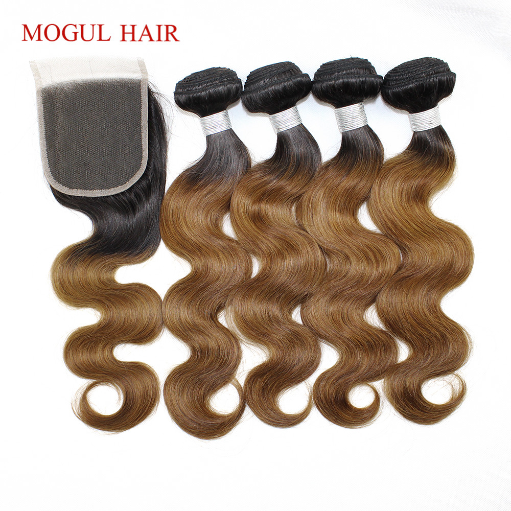 3/4 Bundles with Lace Closure T 1B 30 Ombre Brown Auburn Bundles with Closure Peruvian Body Wave Hair Remy Human Hair MOGUL HAIR