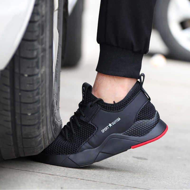 Yeni Nefes Güvenlik Ayakkabıları Erkekler Hafif Yaz Anti-smashing Piercing Çelik ayak Güvenlik iş çizmeleri Tek Örgü Ayakkabı 36- 47