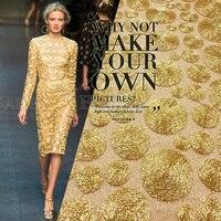 Europe Gold Lace Fabric Cloth Metal Texture Circle Super Beautiful Luxury Gauze Bottom Gold Fabric
